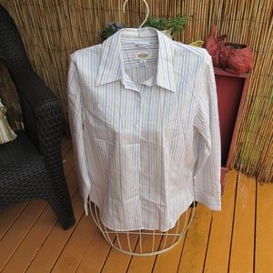 Talbots Size 8 Striped Shirt 100% Cotton